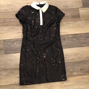 New sequined black cocktail shift dress